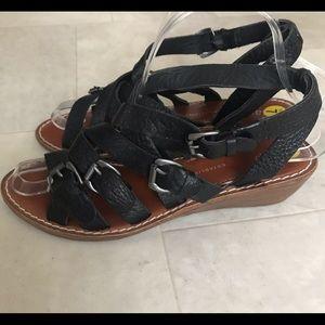 "GAP Sz 7 Leather Strappy Black Sandals 1 3/4"" heel"